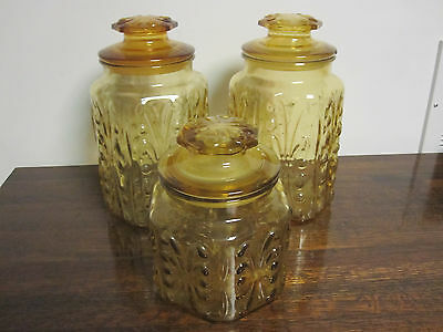 Vintage L E Smith Honey Amber Glass Lidded Canister Set - Atterbury Scroll Set 3