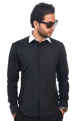 Slim / Tailored Fit Mens Black & White Collar Dress Shirt Wrinkle-Free AZAR MAN
