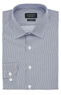 Slim / Tailored Fit Mens Blue Stripe Dress Shirt Wrinkle-Free Cotton By AZAR MAN