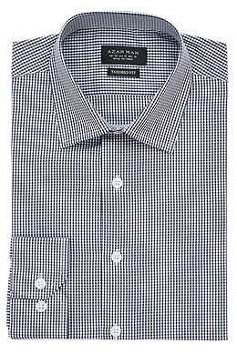 Slim / Tailored Fit Mens Black Plaid Dress Shirt Wrinkle-Free Cotton By AZAR MAN
