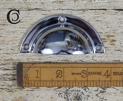 """1 Cast Brass Nickel Plated Cup Handle & Screws 3.5"""" 92Mm Cabinet Furniture"""