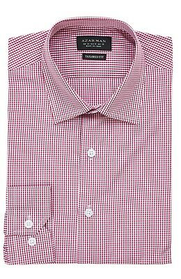 Slim / Tailored Fit Mens Red Plaid Dress Shirt Wrinkle-Free Cotton By AZAR MAN