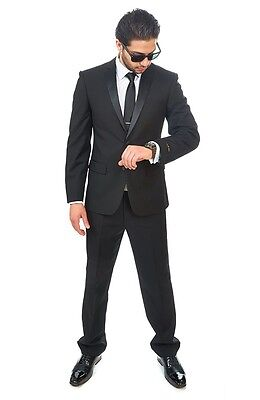 Slim Fit AZAR MAN Black Tuxedo 2 Button Satin Notch Lapel Flat Front Pants NEW
