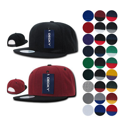 7f068facad3 1 DOZEN Blank Flat Bill Snapback Caps Hats Solid Two Tone DECKY WHOLESALE  BULK
