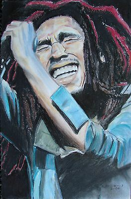 Bob Marley print from Hand-drawn portrait, signed by artist. 12x18 size