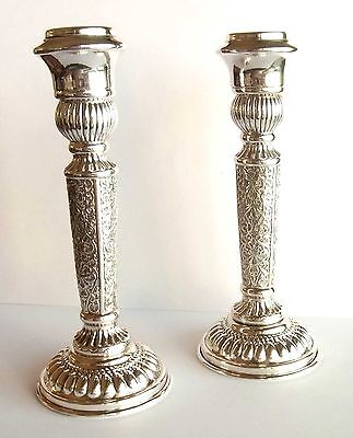 GEORGEOUS PAIR OF SILVER STERLING SHABBOS CANDLE HOLDERS - Made in ISRAEL