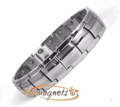 Mens Ultimate Double Magnets Stainless Steel Bio Magnetic Braclet -Pain Relief-