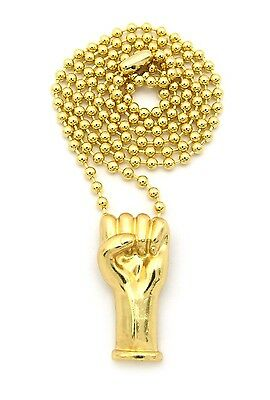 "NEW FIST POWER HAND SMALL MICRO PENDANT 3mm/27"" BALL CHAIN NECKLACE MMP36"