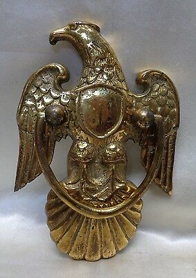 "Estate Found Vintage Decorative Solid Brass Eagle Door Knocker - 9"" x 6"" x 1"""