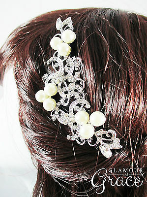 Sienna vintage wedding bridal comb silver pearl crystal headpiece hair accessory