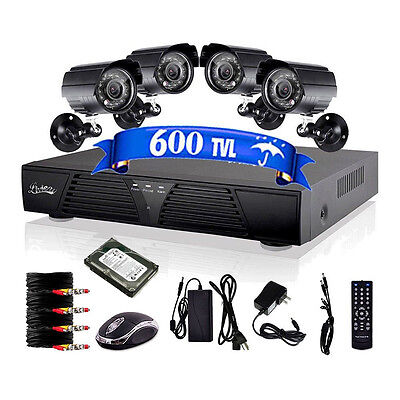 8CH Channel HDMI DVR 4PCs Outdoor CCTV Video Home Security Camera System 1TB