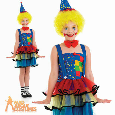 Child Girls Cute Clown Costume Kids Circus Fancy Dress Outfit Age 4 - 12