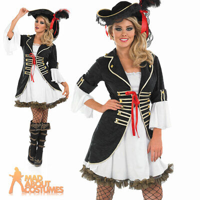 Ladies Pirate Girl Fancy Dress Costume Halloween Pirates Outfit UK 8-30