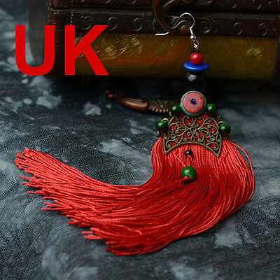 Red Tassel & Gold Plated Fan Shape Earring with Chinese Silk Gift Bag UK