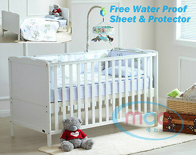 Wooden Baby Cot Bed Toddler Bed & Water repellent Mattress Made In UK 140x70cm