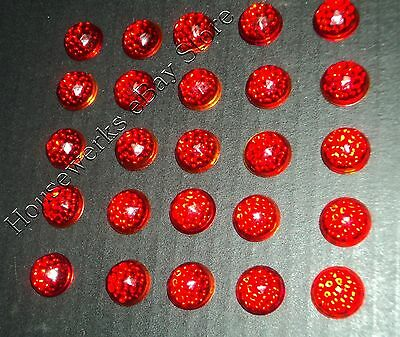 Vintage (25) RUBY RED Glass * CATS EYE * (REFLECTOR Warning Sign JEWELS) Faceted