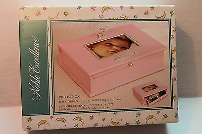Noble Excellence Pink Photo Box for Infant Baby Girl Pictures Wooden Box NEW