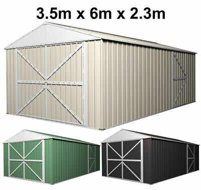 Garage Shed 3.45m x 6.1m Colorbond Vehicle Storage Workshop Shelter - 4 Frames