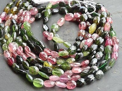 "HAND FACETED TOURMALINE OVAL BEADS, approx 5x6mm, 13"", 50+ beads"