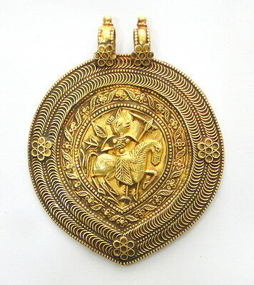 Rare! ancient antique collectible solid 23k Gold amulet pendant necklace india