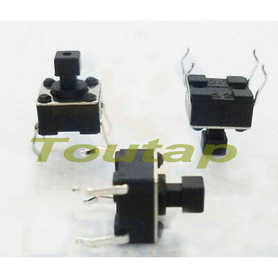 200pcs Microswitch Tactile Push Button Switch Momentary Tact 6X6X7.3MM SMD Black