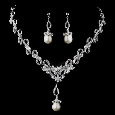 Gorgeous Silver Pearl CZ Crystal Bridal Necklace Earring Wedding Jewelry Set