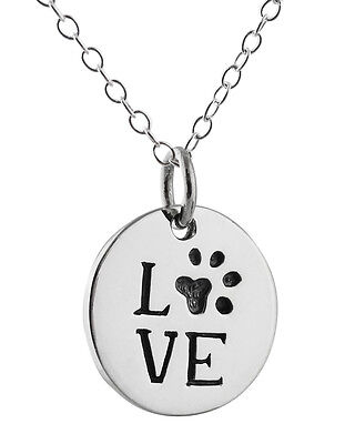 Love Paw Necklace - 925 Sterling Silver - Charm Dog Cat Animal Pendant NEW Heart