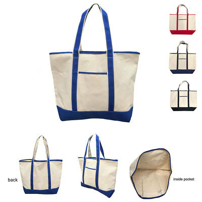 Heavy Duty Canvas Reusable Grocery Beach Gusset Shopping Tote Totes Bag Bags 22""