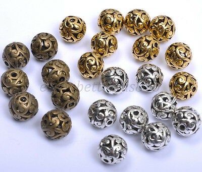 10Pcs Round Metal Carved Hollow Tibetan Silver Spacer Beads For Jewellry 11MM