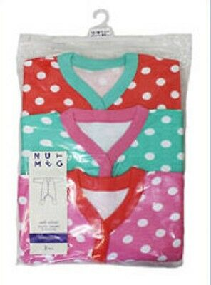 baby girls 3 pack spot sleepsuits by NUTMEG NB 3-6 6-9 9-12 12-18 &18-24 months