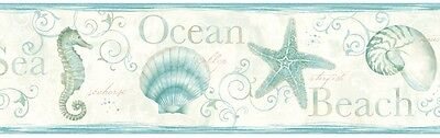 Island Bay Wallpaper Border - 3 Colors Available - Coastal - Sealife - Seashells