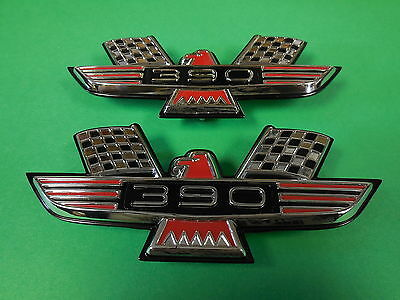 1962 FORD GALAXIE 390 FRONT FENDER EMBLEMS NEW METAL PAIR REPRODUCTIONS