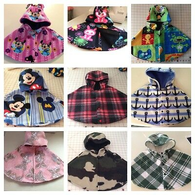 Children Toddler Fleece Capelet Carseat Poncho Sizes 6-9 Or 18-24 Mo Many Colors