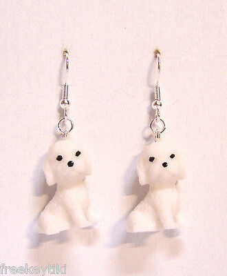"NEW White Bichon Frise Puppies 1"" Mini Figures Figurines Dangle Earrings"