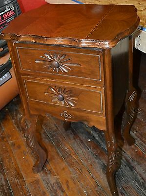 GREAT CARVED WALNUT FRENCH SMALL 2 DRAWER NIGHTSTAND inlay top
