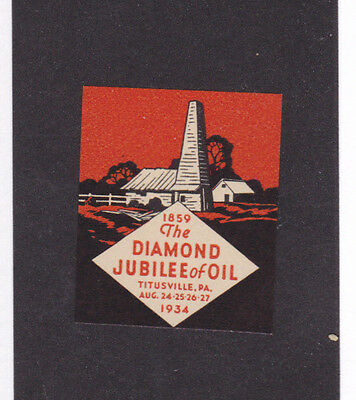 Vintage Poster Stamp Label TITUSVILLE PA 1934 Diamond Jubilee of Oil  #IM