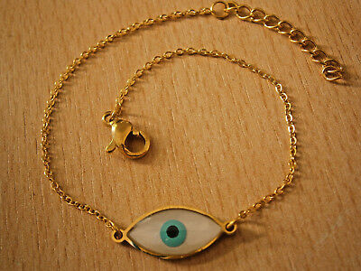 Greek Evil Eye Cross Gold Tone Anklet Or Bracelet Small Blue Hamsa Nazar Beads