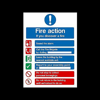 Fire Action If You Discover Fire - Sign, Sticker - 150mm x 200mm - (FA99)