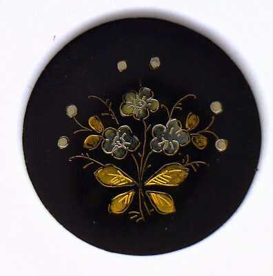 Antique Vintage Black Onyx Round Inlaid Gold & Silver Butterfly & Flowers  #E4