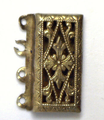 Antique Sterling Silver Filigree Pearl Bead Rectangle 4 strand Catch Clasp #L43