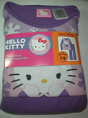 New Hello Kitty  Girls Purple 2 piece Flannel Pajamas Sleepwear Set Size 7/8