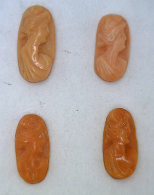 NOS New Antique Vintage Oval Small CORAL Cameo Stone 11.5.mm x 5.5 mm