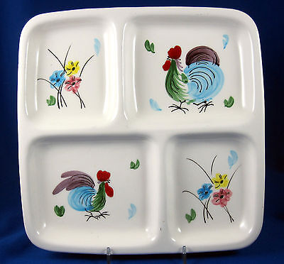 Napco Le Chanticlaire Rooster Chicken Painted Vintage Divided Dish Relish C-5459