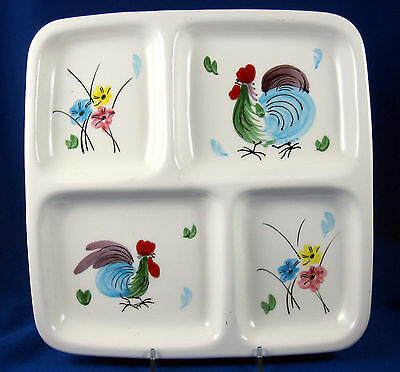 Napco Le Chanticlaire Rooster Hand Painted Vintage Divided Dish Relish C-5459