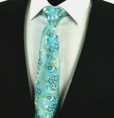 SALE Turquoise Blue Green Teal Mens Tie  Paisley Floral Silver Gift Necktie 614