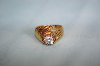 Lovely Park Lane 24K gold plated Ring with clear Cubic Zirconia -Size 7-signed