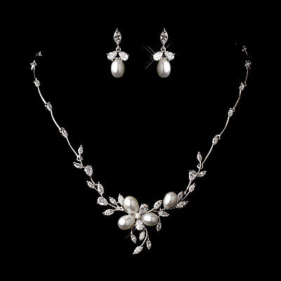 CZ Crystal Bridal Necklace Silver White Pearl Wedding Prom Jewelry Set