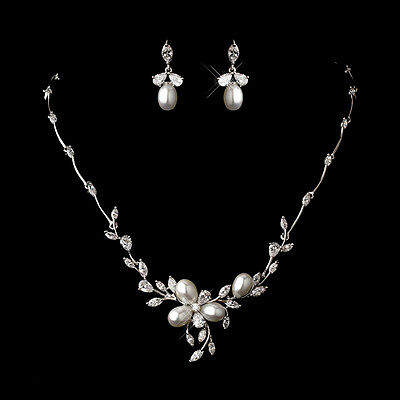 SALE! CZ Crystal & Pearl, Bridal Necklace & Earring Jewelry Set, Wedding Prom
