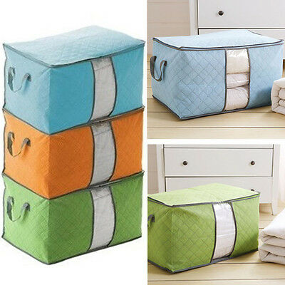 Large Jumbo Clothes Storage Bag Bedding Duvet Handles Laundry Pillows Zip Box WF