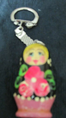 Handpainted Pink,yellow, Red, Green ,white Floral Blond  Female Design Keychain-